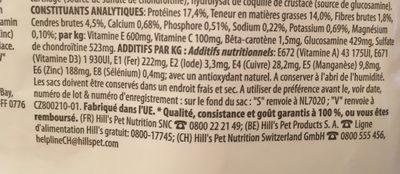Hill's Canine Mature Mini Poulet Active Longevity - Ingredients
