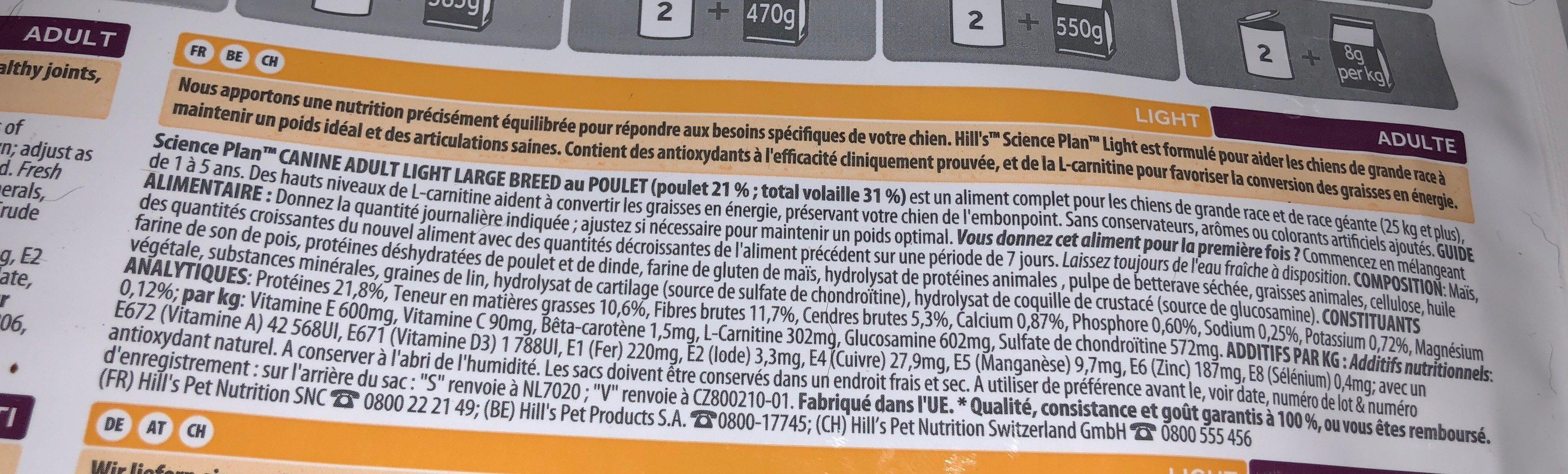 Croquettes Hill\'s Canine Adult Light Pour Grands Chiens De Race - Ingredients - fr
