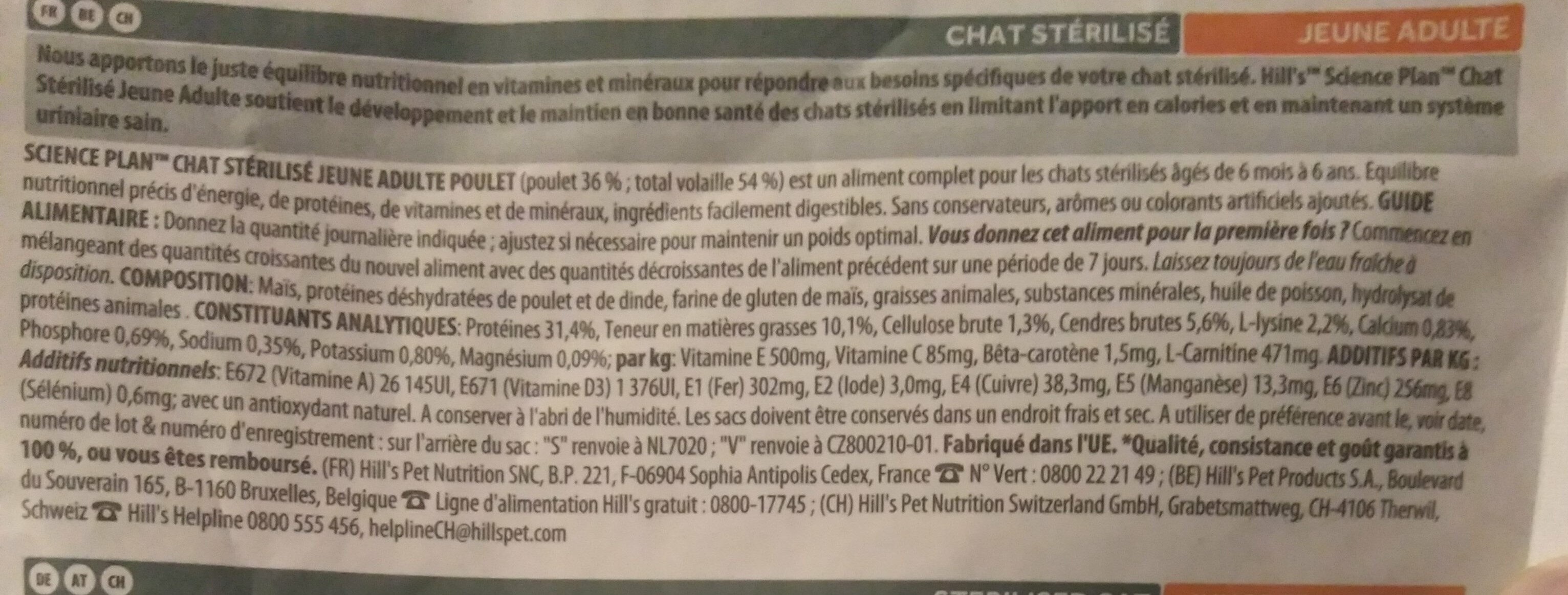 Sterilised cat Young adult 6 months - 6 years - Poulet - Ingredients - fr