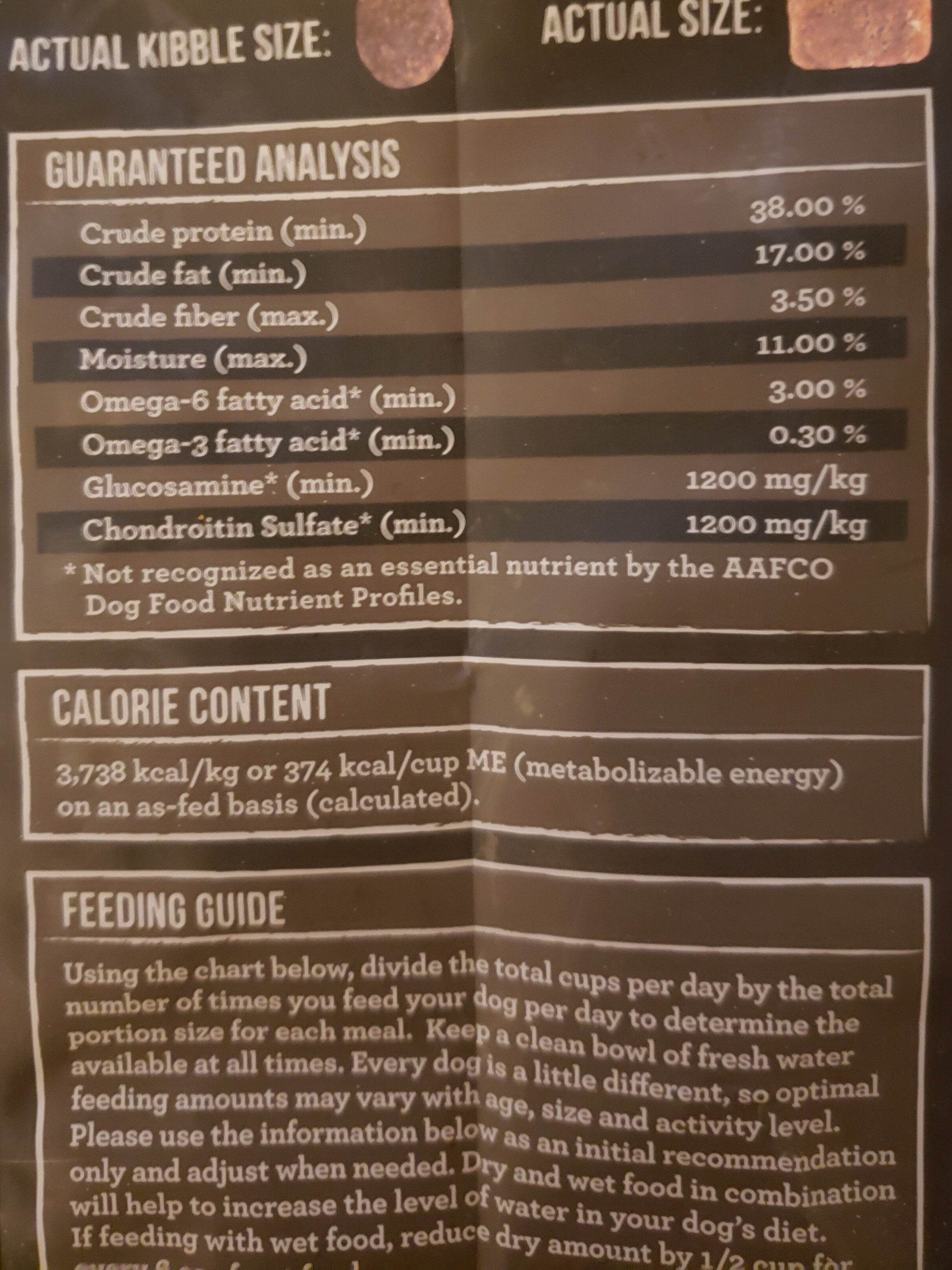 Back Country Raw Infused - Nutrition facts