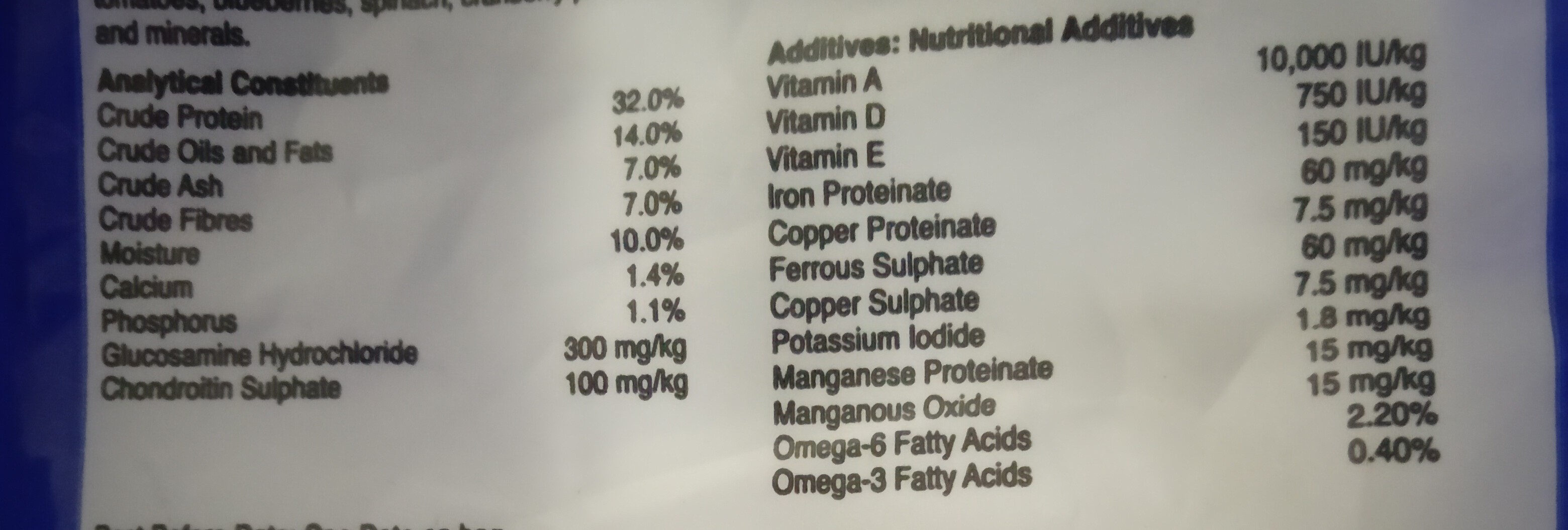 Nutragold - Nutrition facts - en