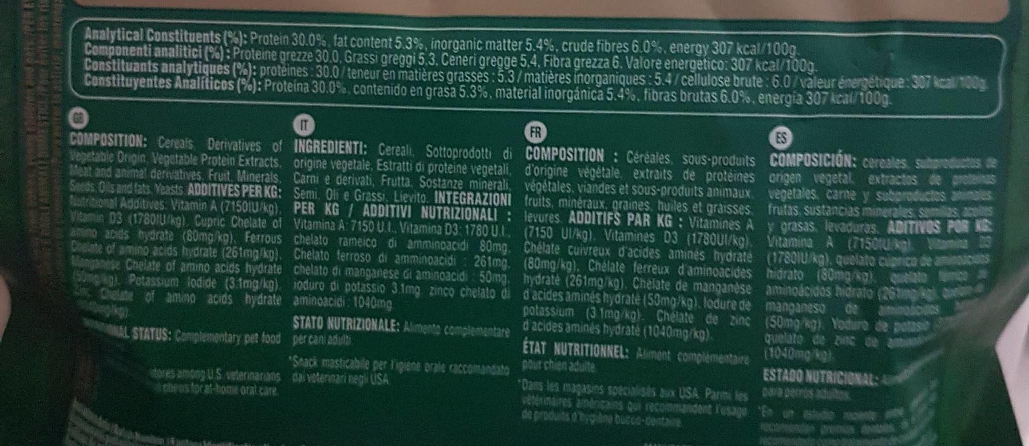 Greenies - Bâtonnets à Mâcher Pour L'hygiène Dentaire Pour Mini Chien - X43 - Nutrition facts - fr