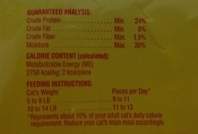 Meow Mix Irresistables - soft - Nutrition facts