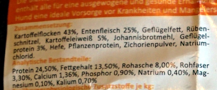 Sensitive Ente & Kartoffel - Ingredients - de