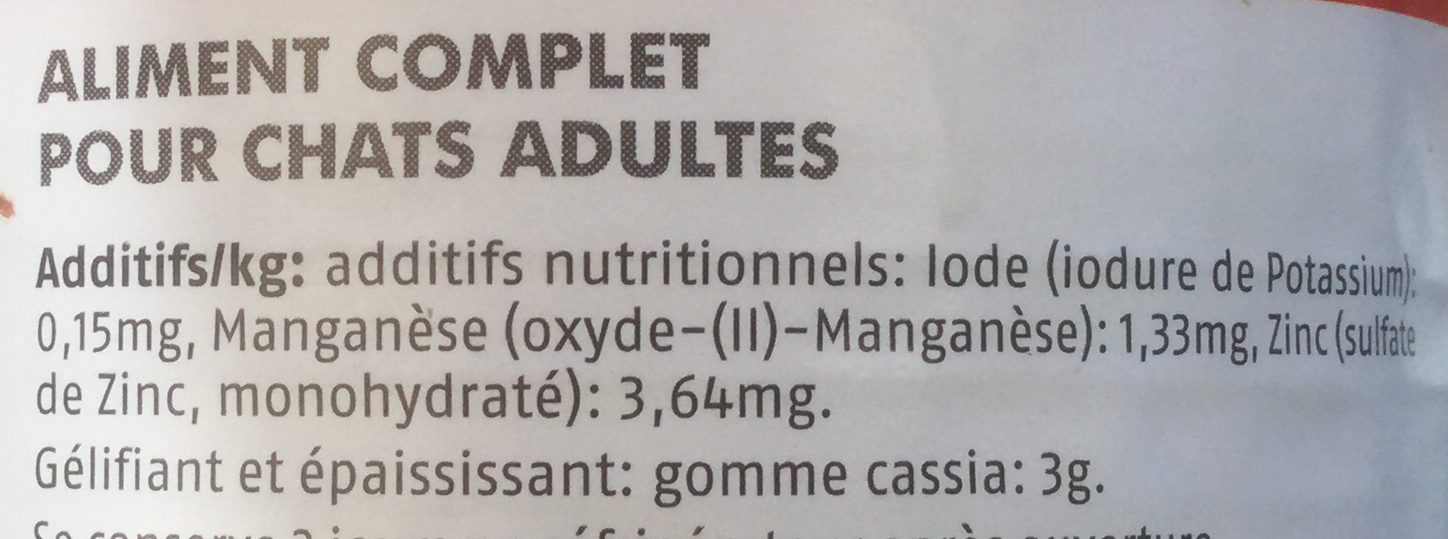 Pâtée au bœuf  - Nutrition facts