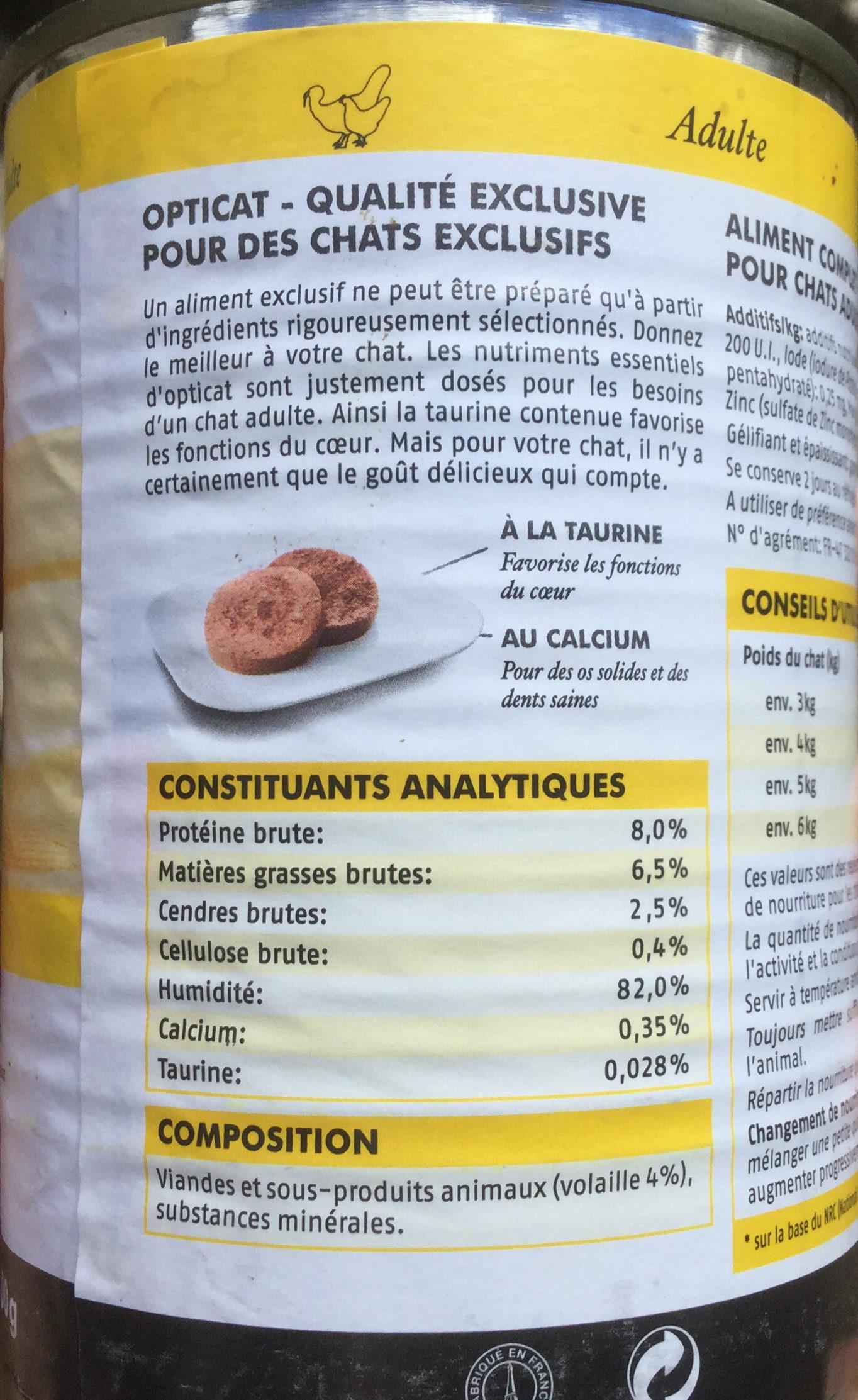 Pâtée à la volaille - Nutrition facts - fr