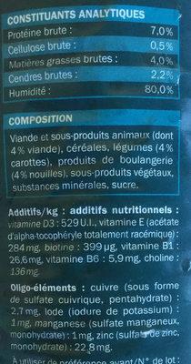 Bouchées à la viande, aux pâtes et aux carottes en sauce - Nutrition facts