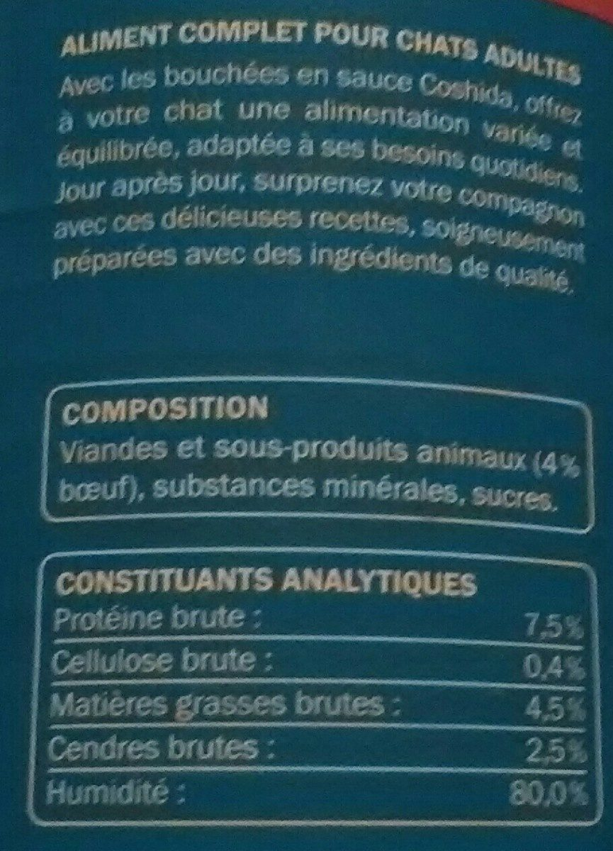 Pâtée pour chat au bœuf - Ingredients - fr