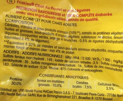 Sac 4KGS Croquettes Chat Poulet Friskies - Ingredients