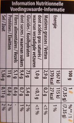 Cracotte céréales complètes - Nutrition facts