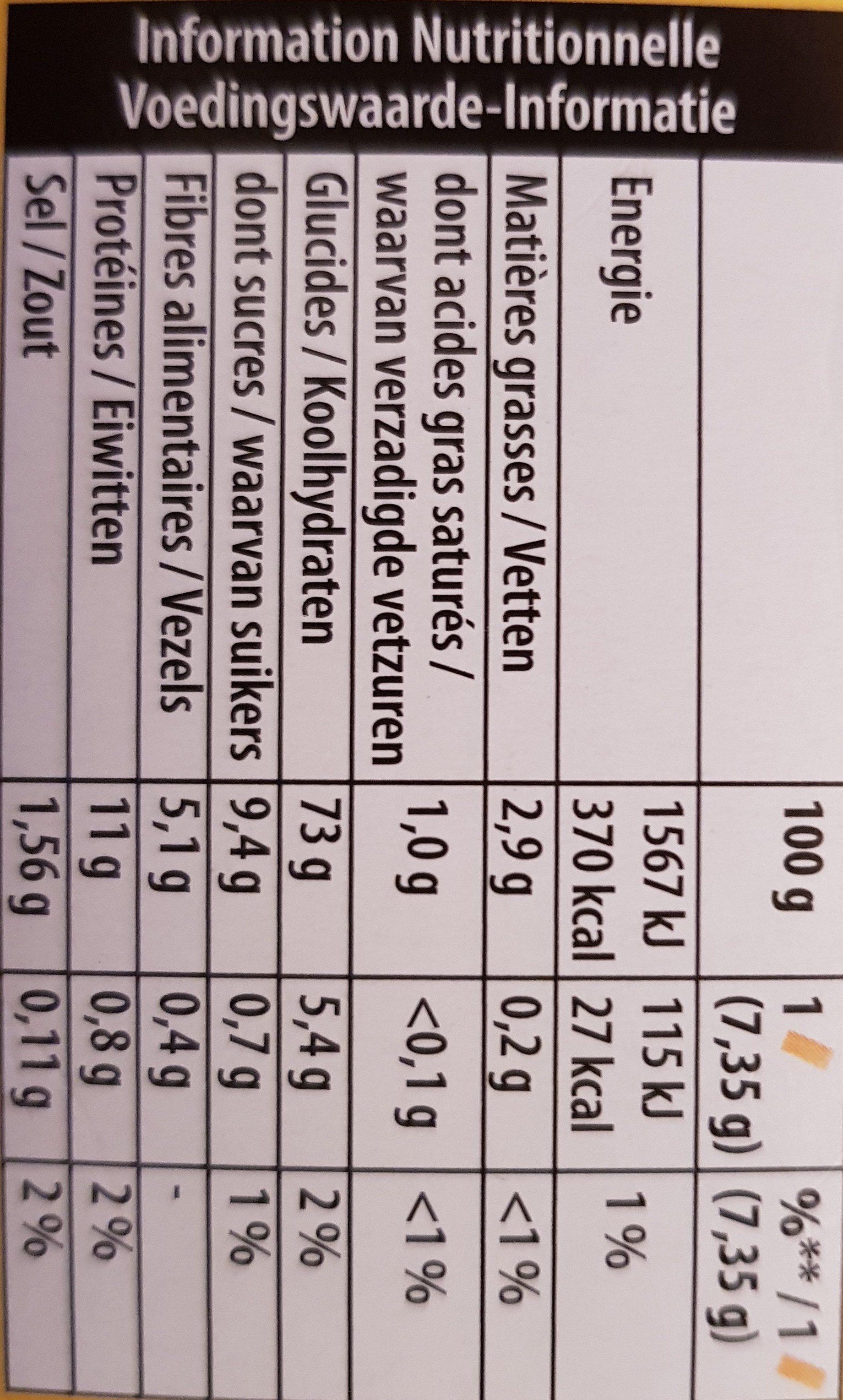 Cracotte céréales complètes - Nutrition facts - fr