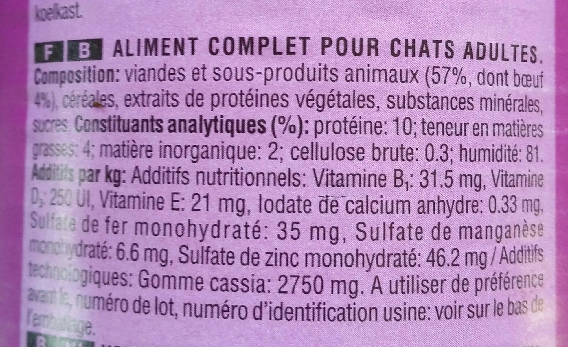 Whiskas  Boîte - Ingredients - fr