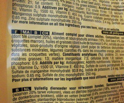 10KG Adulte Boeuf / Legumes Pal - Ingredients