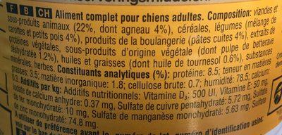 Pedigree Agneau Leg 400 G - Ingredients - fr