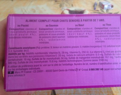Pack 12X100G Recette Du Marche Whiskas - Ingredients