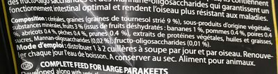 Menu Premium aux fruits Grandes Perruches - Ingredients