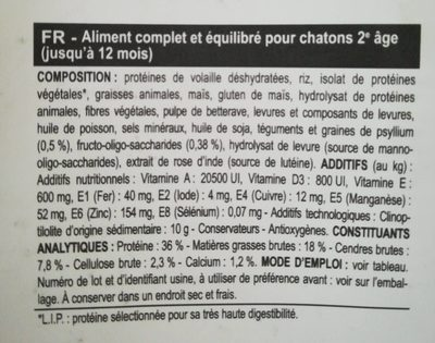 Royal Canin - Croquettes Kitten Pour Chaton - 2KG - Nutrition facts