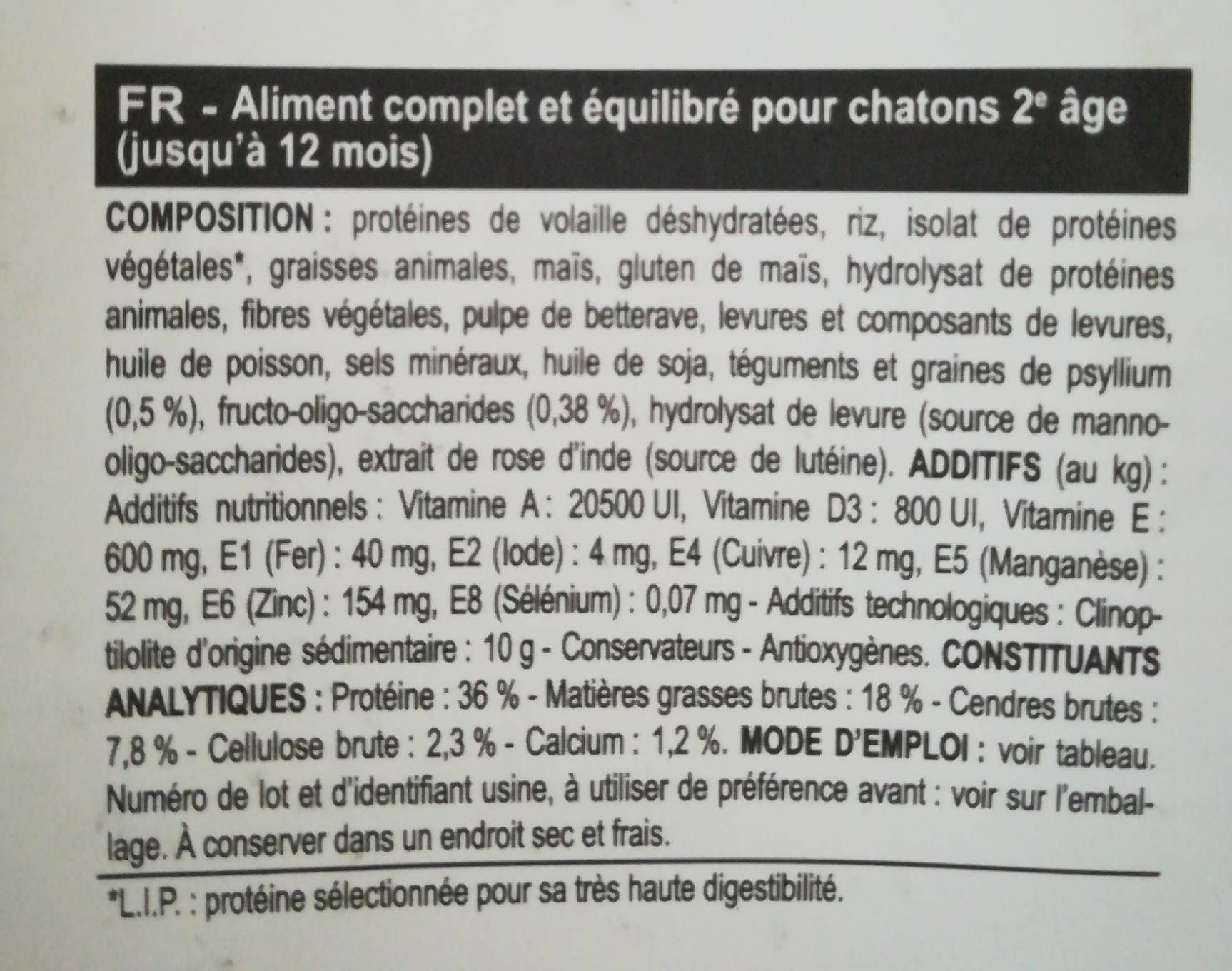 Royal Canin - Croquettes Kitten Pour Chaton - 2KG - Nutrition facts - fr
