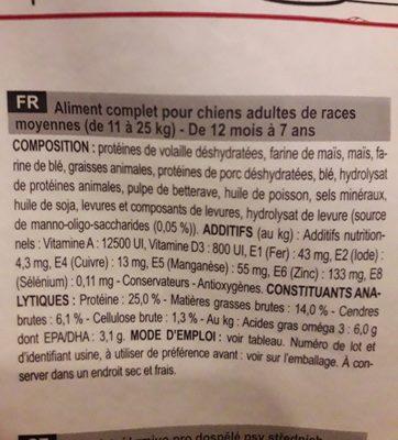 Royal Canin - Chien Adulte Medium 15KG + 3KG Gratuits - Ingredients