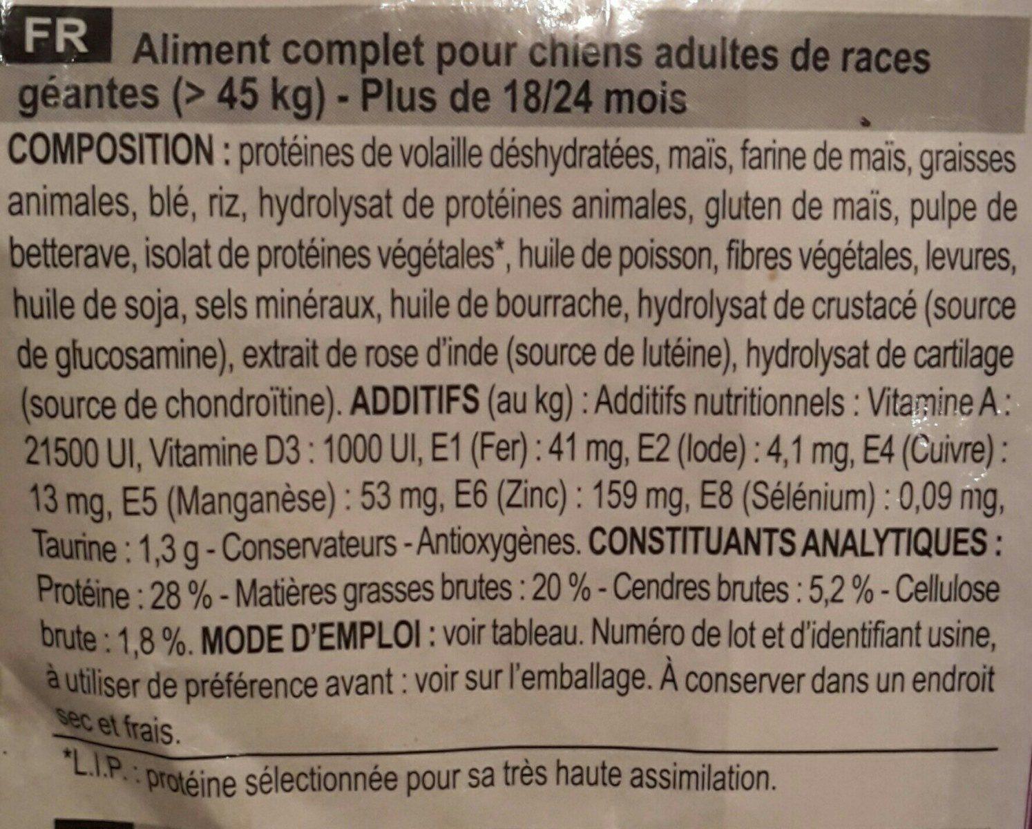 SHN Giant Adult 15 KG+3KG - Ingredients