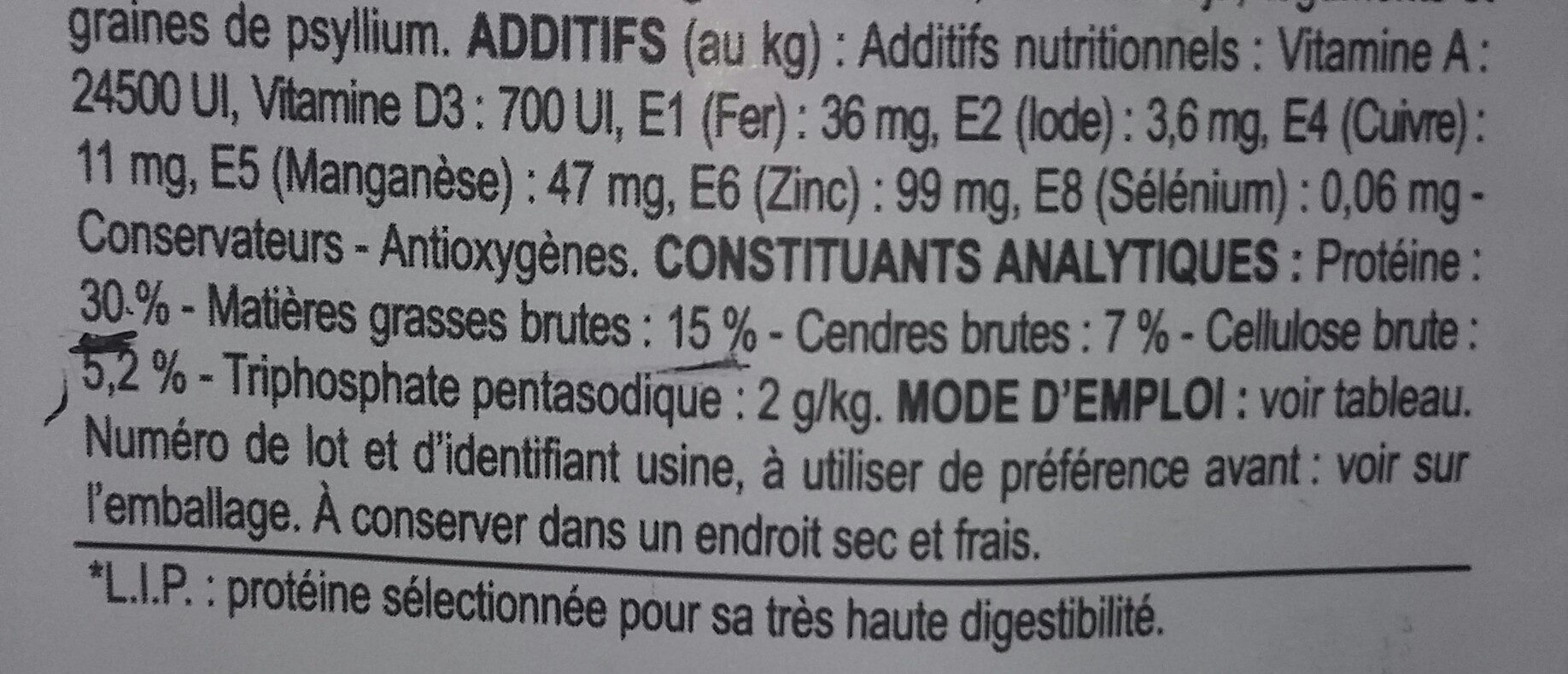 Oral Care - Nutrition facts - fr