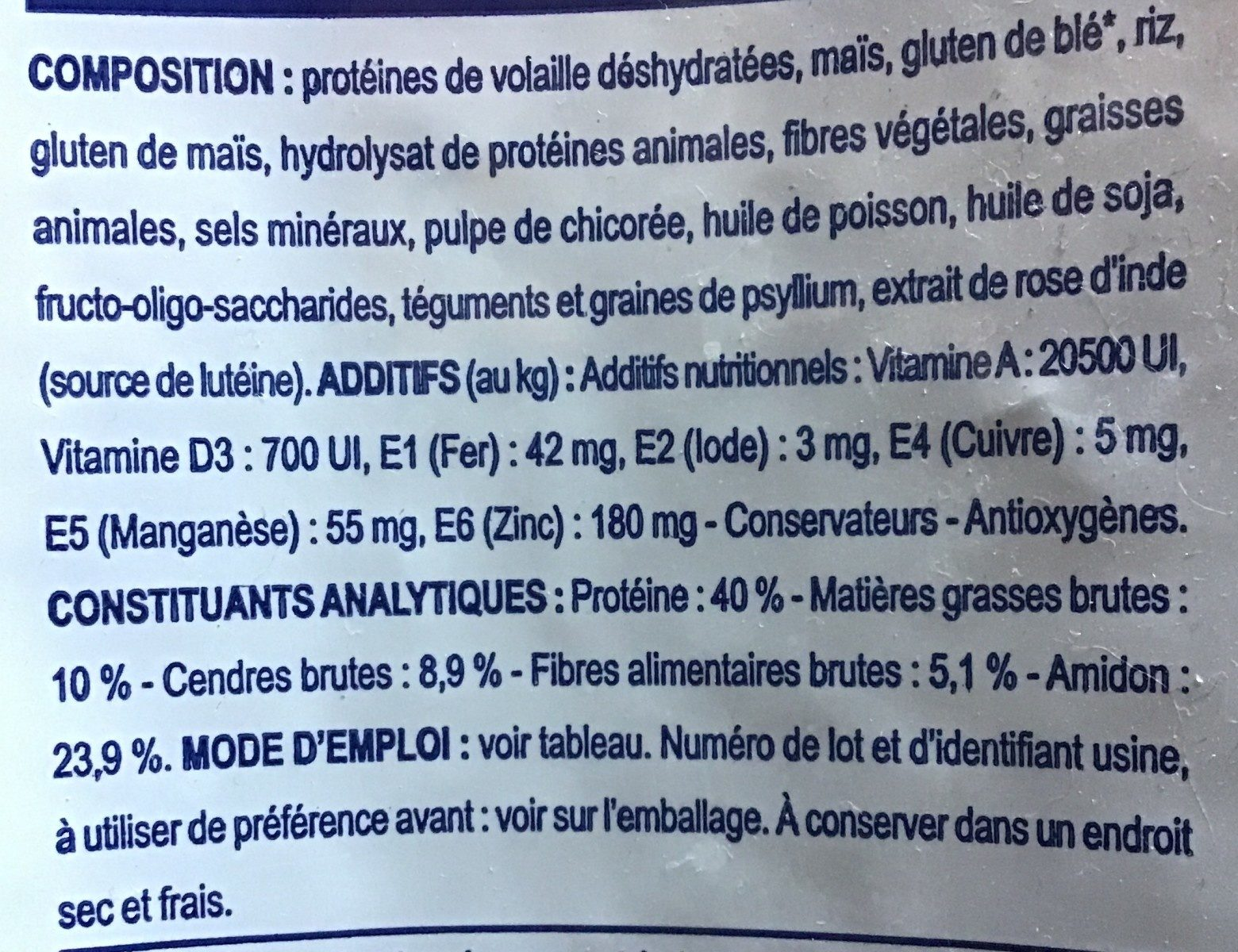 Feline Neutered Young Male - Ingredients - fr