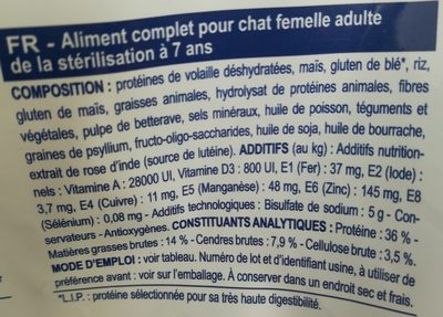 Royal Canin - Croquettes Veterinary Care Young Female Pour Chat - 3,5KG - Ingredients