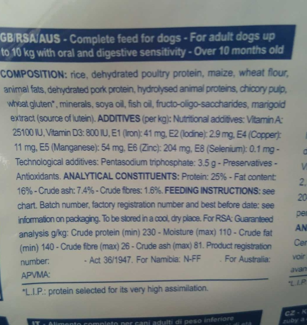 Adult - Small dog under 10 k - Ingredients