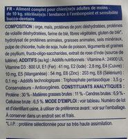 Neutered small dog stérilisé- de 10 kg - Ingredients - fr