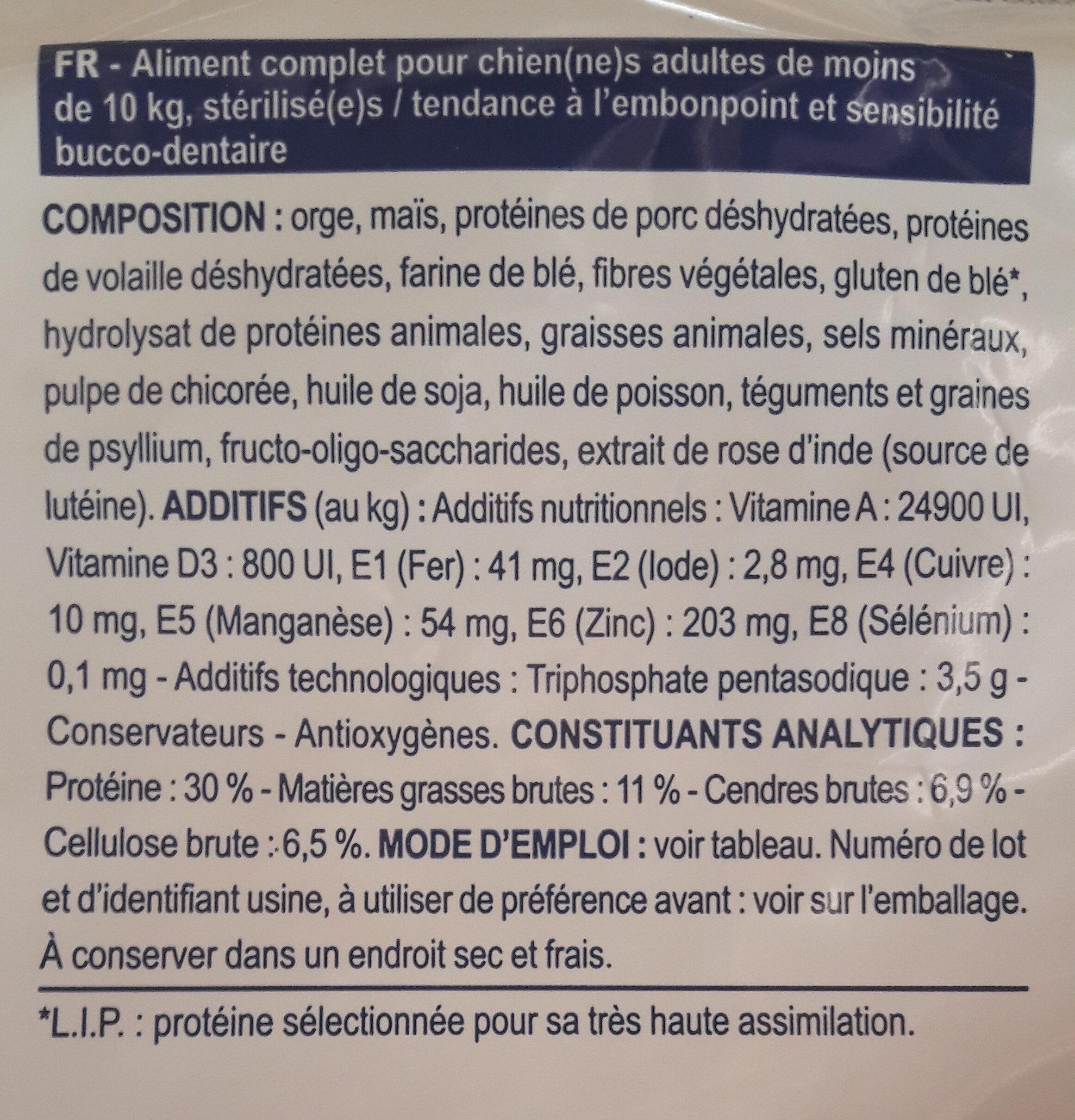 Neutered small dog stérilisé- de 10 kg - Nutrition facts - fr