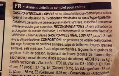 Royal Canin Veterinary - Gastro Intestinal Low Fat Chien LF 22 - Ingredients