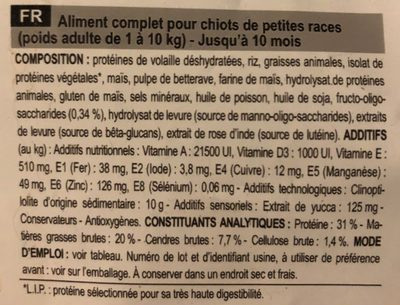 Royal Canin Size Health Nutrition Mini Junior - Ingredients - fr