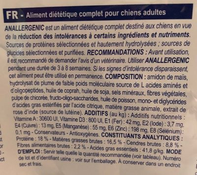 Royal Canin Vdiet Dog - Anallergenic An18 - 8 KG - Ingredients