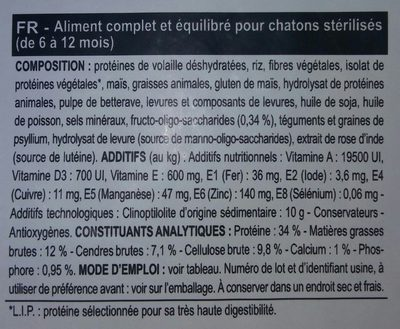 Royal Canin - Croquettes Kitten Sterilised Pour Chaton - 2KG - Ingredients - fr