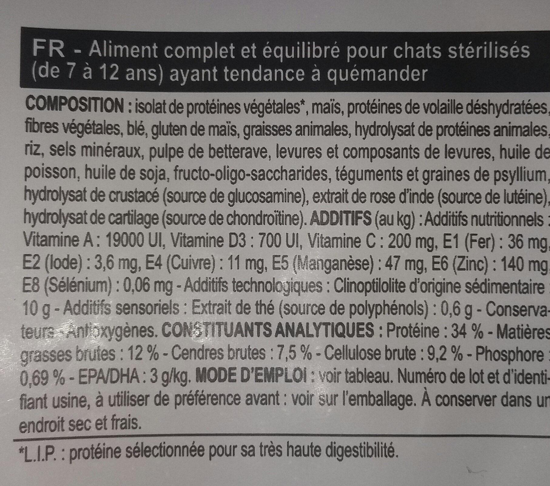 Appetite control sterilised 7+ - Ingredients - fr