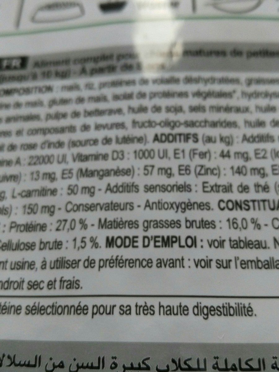 Royal Canin - Croquettes Mini 8+ Pour Chien Adulte - 2KG - Ingredients - fr
