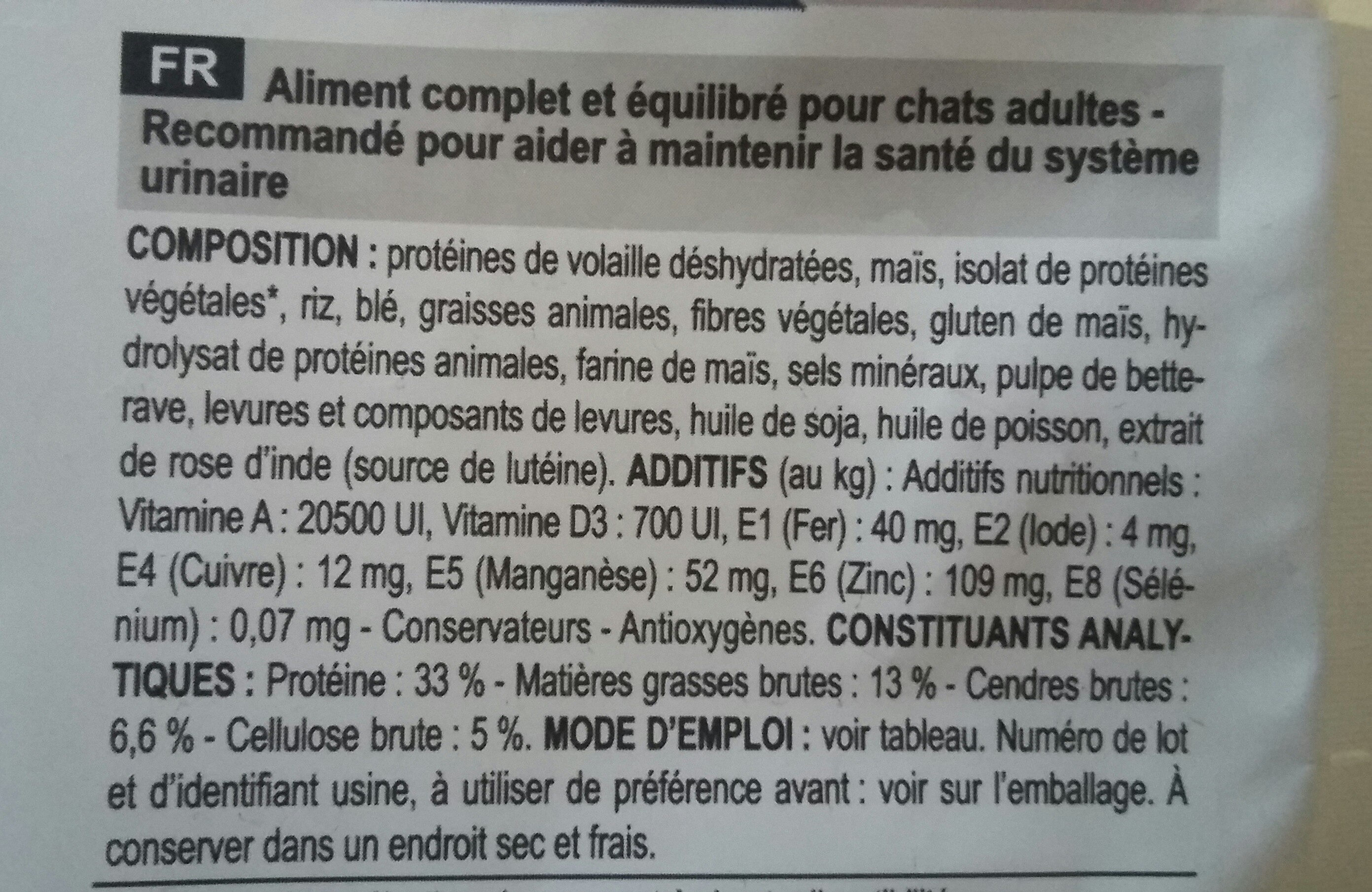urinary - Ingredients - fr