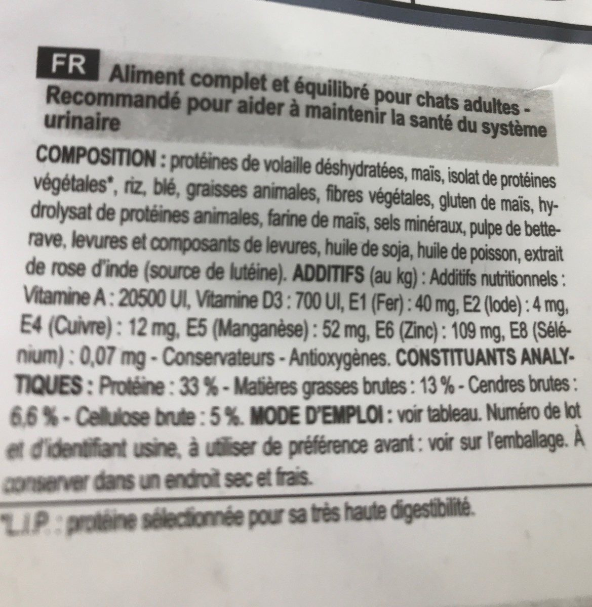 Royal Canin - Croquettes Urinary Care Pour Chat - 4KG - Ingredients - fr