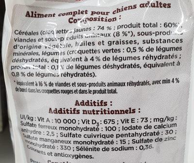 Fido croq Mix au Boeuf aux Céréales aux Légumes - Ingredients