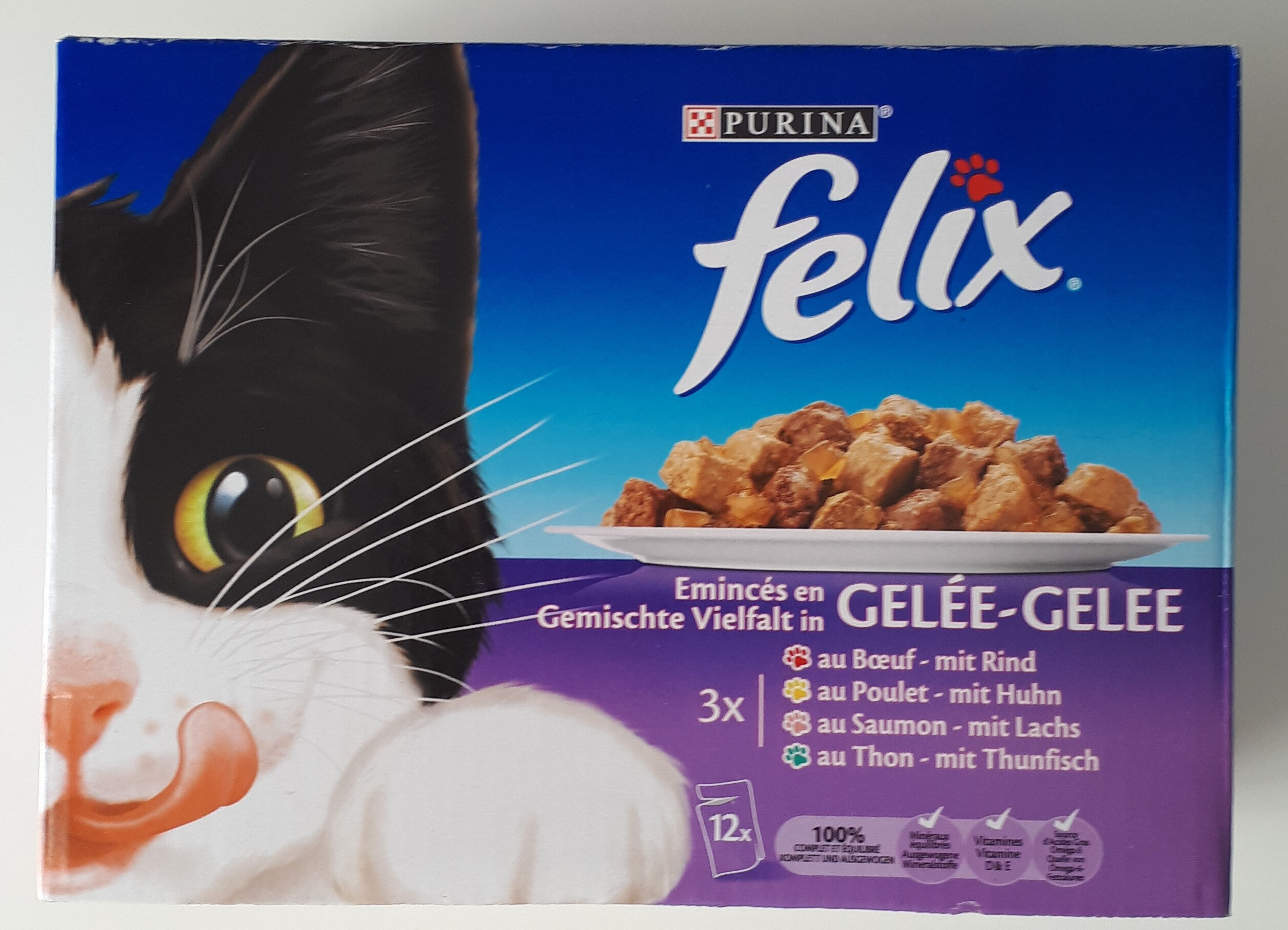 Emincés en gelée pour chats, boeuf, saumon, poulet et thon - Product