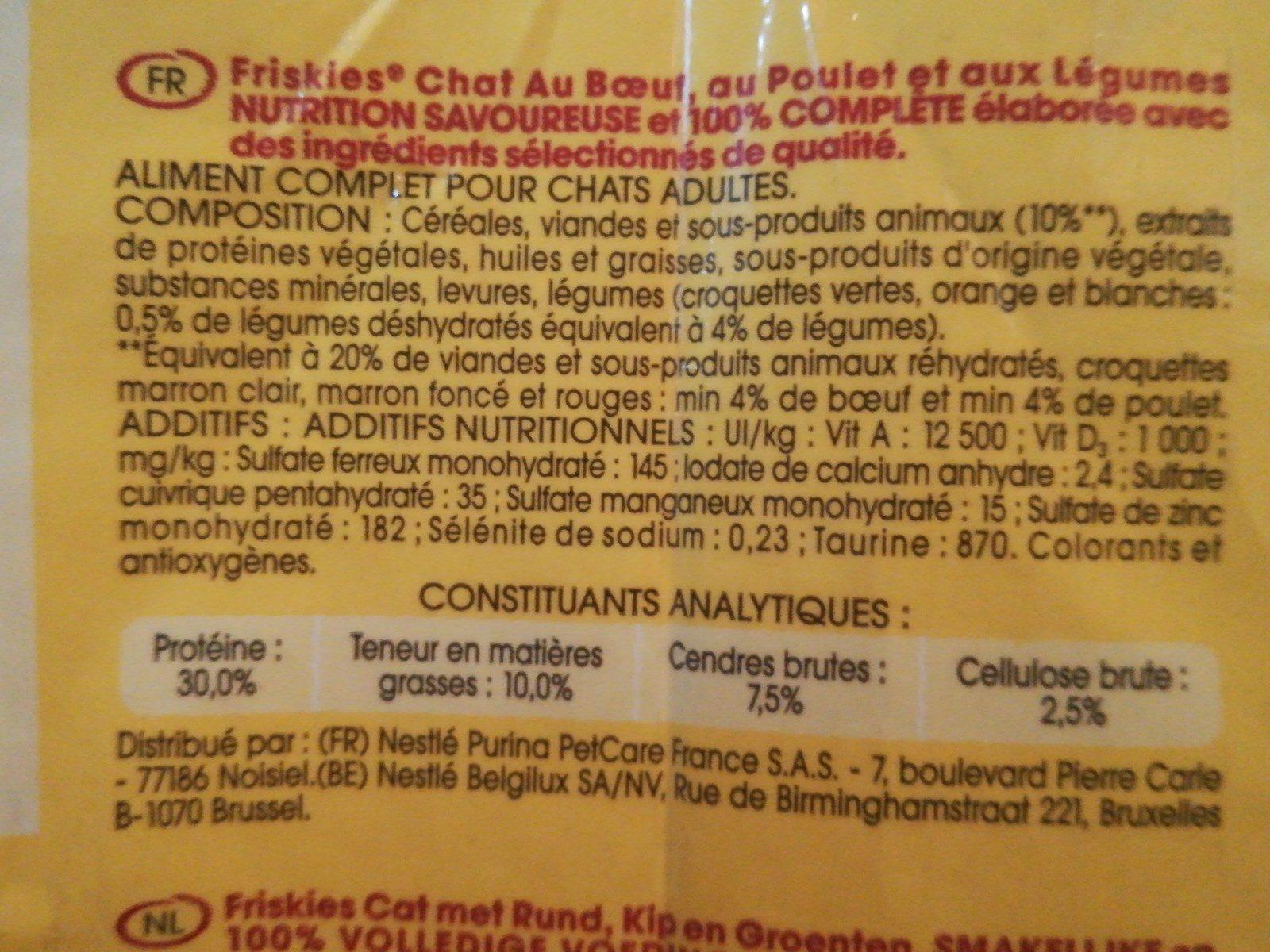 Boeuf Croquettes Pour Chat Friskies - Ingredients - fr