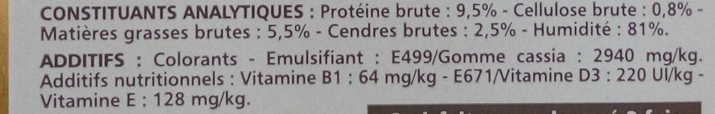 Terrine à la volaille au foie et aux légumes - Nutrition facts - fr
