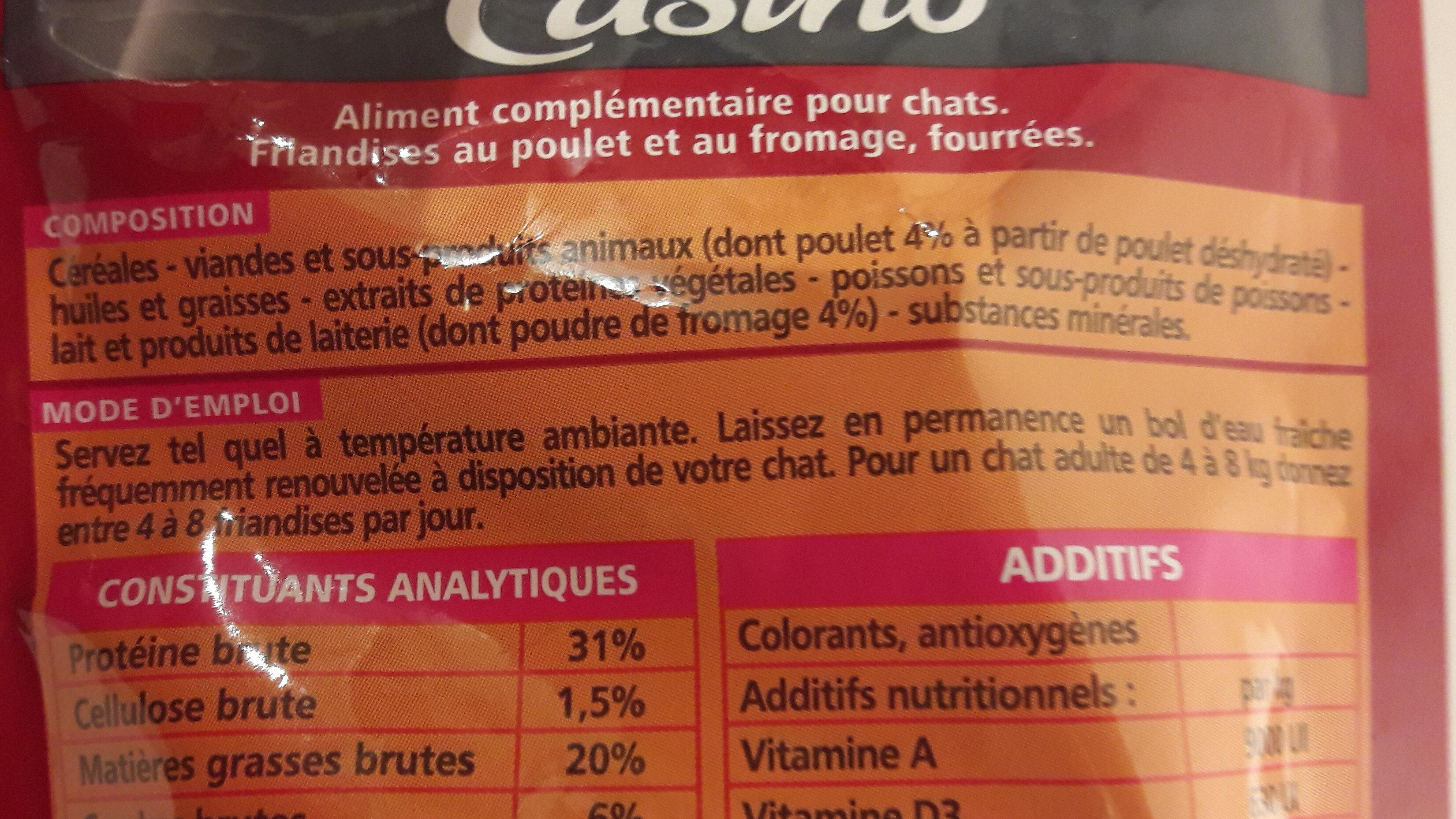 friandises fourrées poulet et fromage - Ingredients - fr