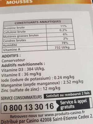 aliments complets pour chat mousses - Nutrition facts