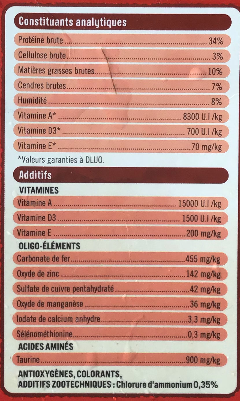 Mulri croquettes bœuf - Nutrition facts - fr
