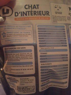 Croquettes Pour Chat Stérilisé Premium U, - Nutrition facts