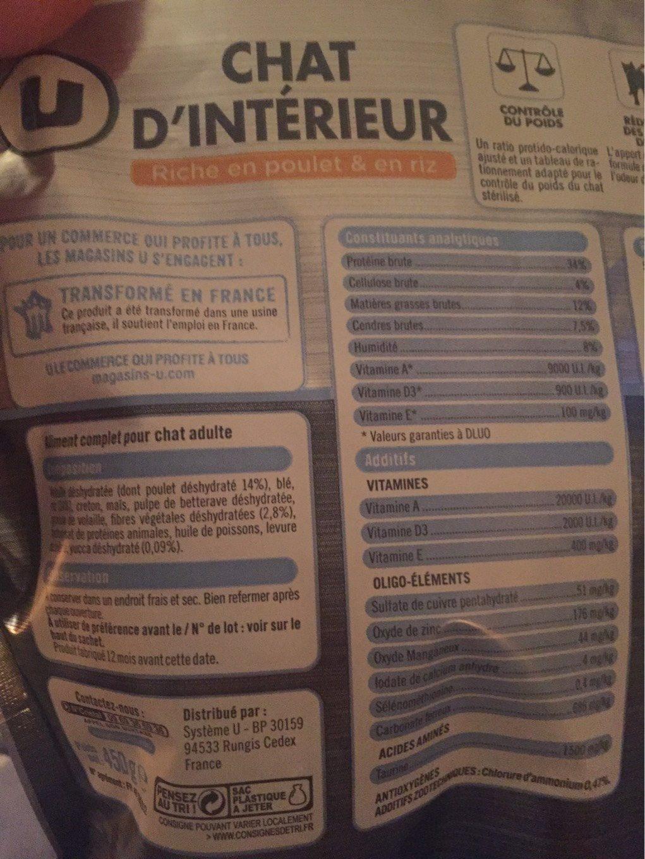 Croquettes Pour Chat Stérilisé Premium U, - Informations nutritionnelles