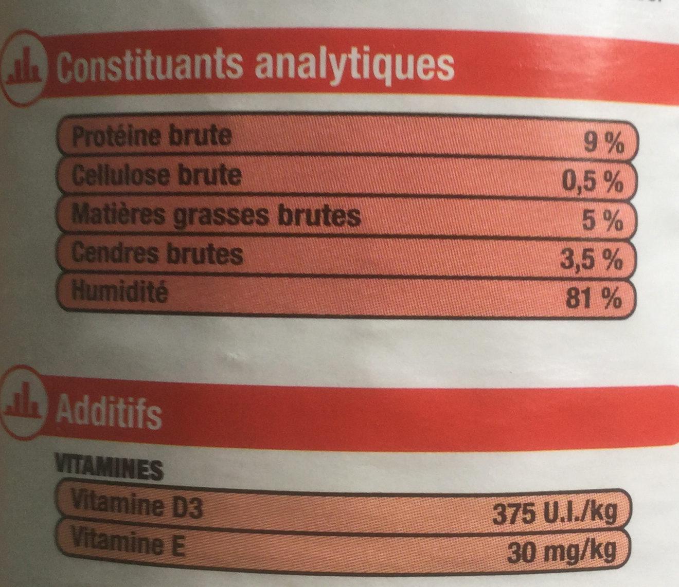 Les Terrines à la Dorade pâtée et morceaux - Informations nutritionnelles