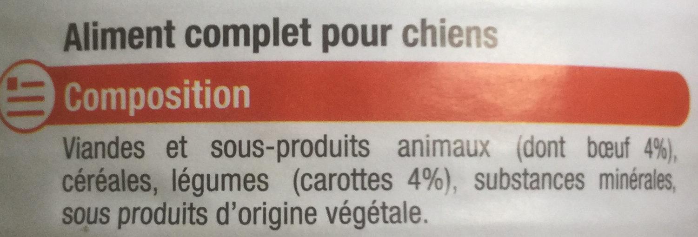 Pâtée et morceaux au bœuf et aux carottes - Ingredients