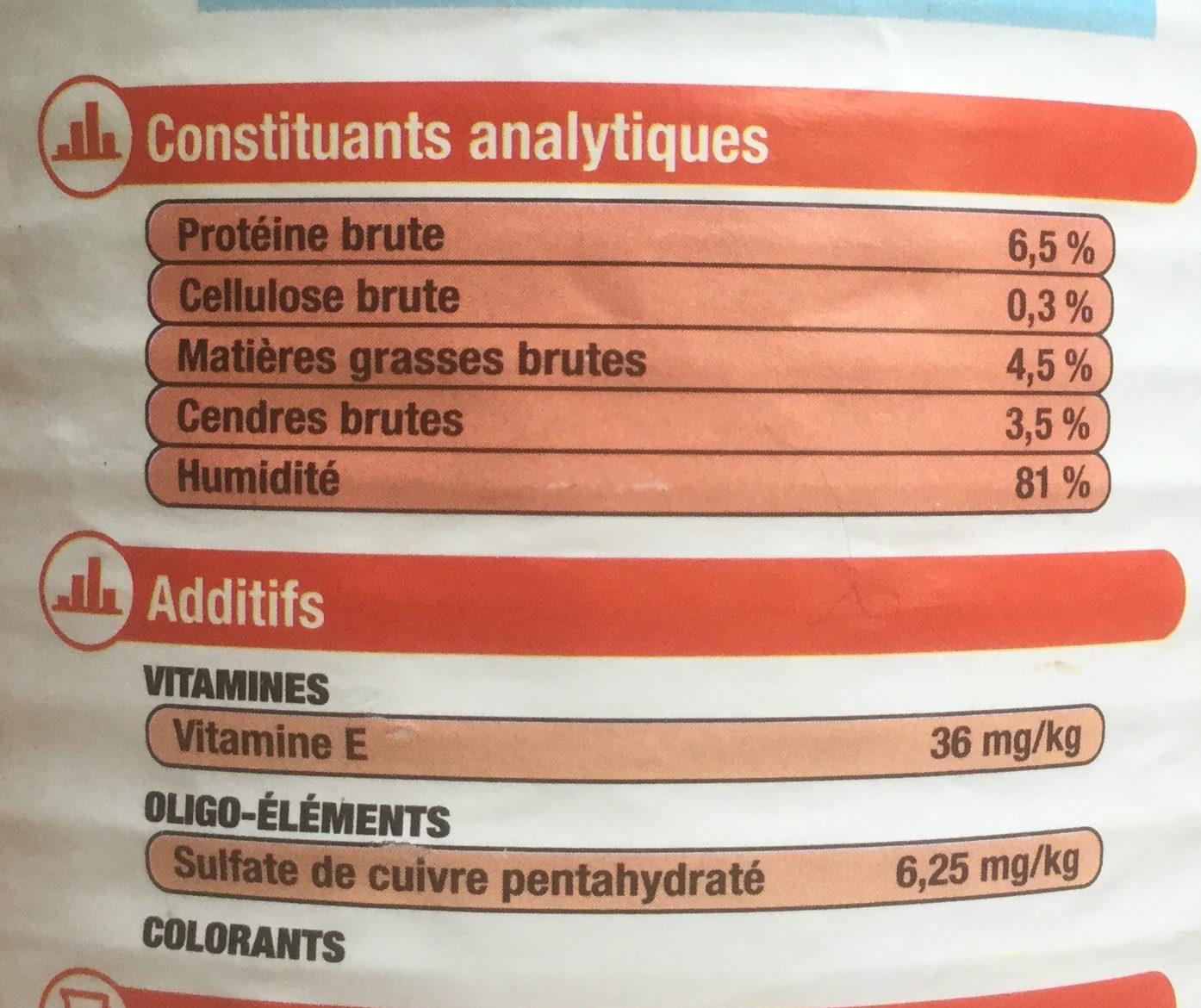 Pâtée et morceaux au bœuf et aux carottes - Nutrition facts